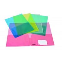 0168SHO0000 ORNA Aplankas A4-A3 su 2 kišenėm skaidrus įvairių spalvų D04-498