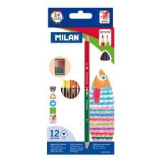 07112312 MILAN, Dvipusiai, tribriauniai pieštukai 12vnt 24sp, R06-115