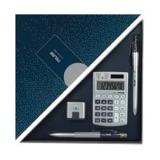 08737 MILAN Skaičiuotuvas+rašiklis+trintukas SILVER mėlynas G10-136