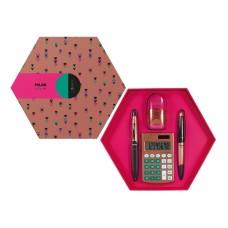 08739 MILAN Skaičiuotuvas+rašiklis+trintukas COPPER rožinis G10-138