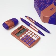 08740 MILAN Skaičiuotuvas+rašiklis+trintukas COPPER violetinis G10-139