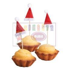 11428307 SUSY CARD Kalėdinė dekororacija pagaliukas su kepurėle 6vnt M09-237