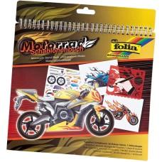 41203 FOLIA Spalvinimo ir trafaretų rinkinys MOTORCYCLE M09-379