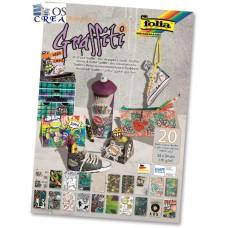 48349 FOLIA Popieriaus rinkinys 24x34cm 20l GRAFITI mix B06-1031