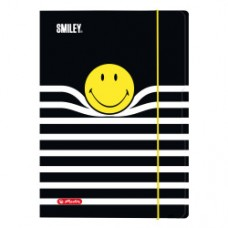 50016068 HERLITZ, Aplankas su guma A4 4cm SMILEY B&Y STRIPES, D04-659