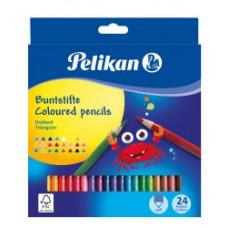 00700122 PELIKAN, Tribriauniai pieštukai 24 spalvų, R06-106