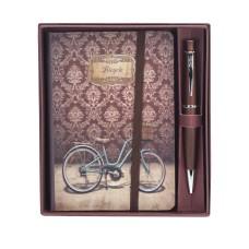 83175 OSKAR Rinkinys rašiklis+užrašų knygutė ruda G10-129