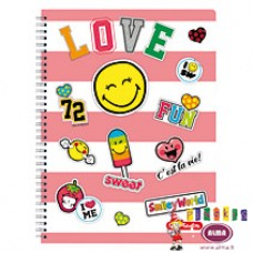 B02-376 Sąsiuv.su spirale A4 70l lang SMILEY WORLD 50002757HERLITZ5