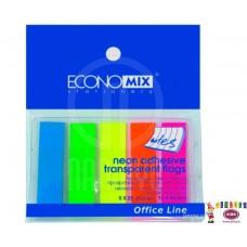 B11-405 Plastikiniai indeksai 12x45mm 5sp neon E20945 PAPIRUS