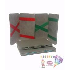 D07-197 Pilkas kort.dėklas su juost.(žalia)7x10.5cm 97507105 JAGUAR