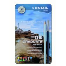 L2881120 FILA/LYRA Pieštukai GRADUATE AQUARELL 12sp met.dėž R06-756