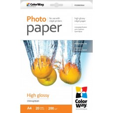 PG200020A4 COLOR WAY Foto popierius A4 20l 200g GLOSSY, B17-712