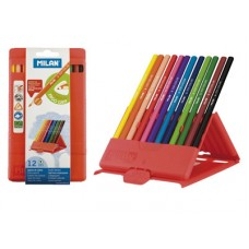 R06-0041 Spalvoti pieštukai,12sp, tribriauniai, plastikinėje dėžutėje, 0729312, MILAN