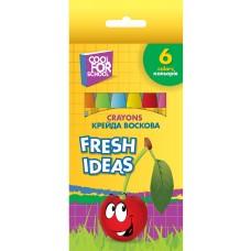 R08-208 Vaškinės kreidelės, 6spalvų, FRESH IDEAS 60704 PAPIRUS